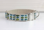 Dog collar with green leaves, nature, tree, modern, webbing, collar