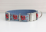 Dog collar with roses, floral, webbing in gray, collar