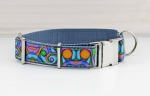 Dog collar with a colorful pattern, geometric, modern, webbing, collar