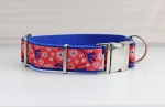 Dog collar with flowers in orange red, floral, modern, webbing in blue, collar