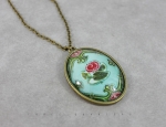 Necklace with water lilies, brass and glass, size pendant 40x30mm