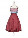 Balloon dress, Size S, red, brown, lace, dress, evening dress