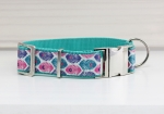 Dog collar with colorful feathers, peacock feather, turquoise webbing