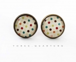 Studs, dots, colorful, polka dots, cream, white