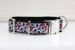 Dog collar with white flowers on red, floral, webbing in black