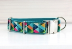 Dog collar with abstract roses, webbing in gray