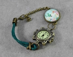 Wrist watch, clock, unicorn, turquoise, boho, leather